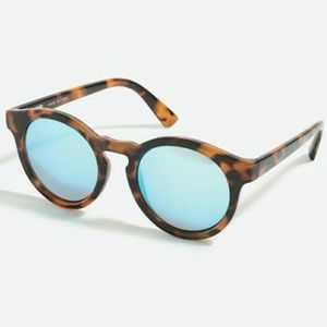 J CREW FACTORY Keyhole Round Sunglasses Tortoise